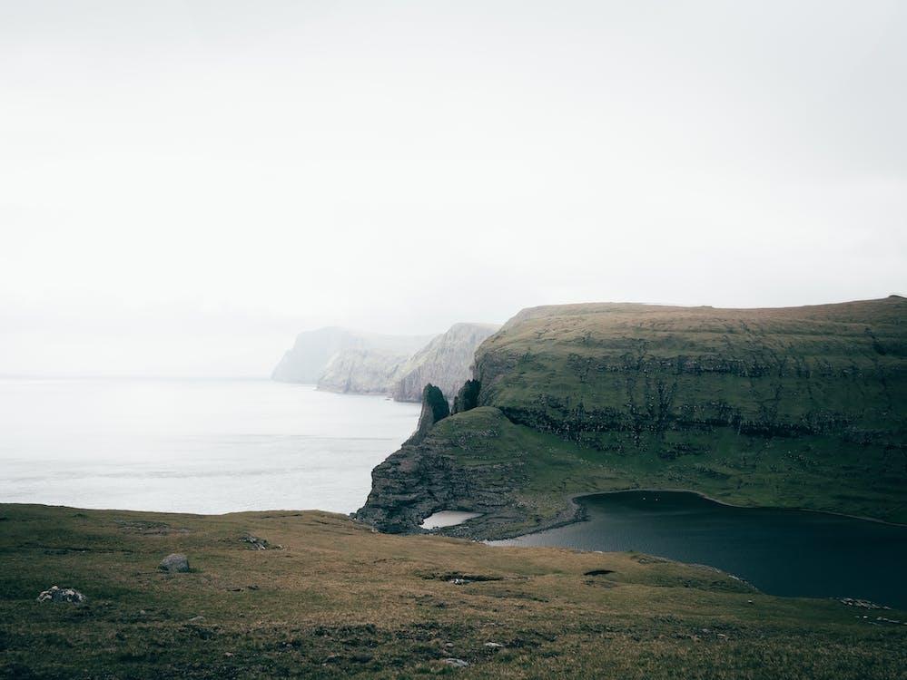 acantilado, agua, al aire libre