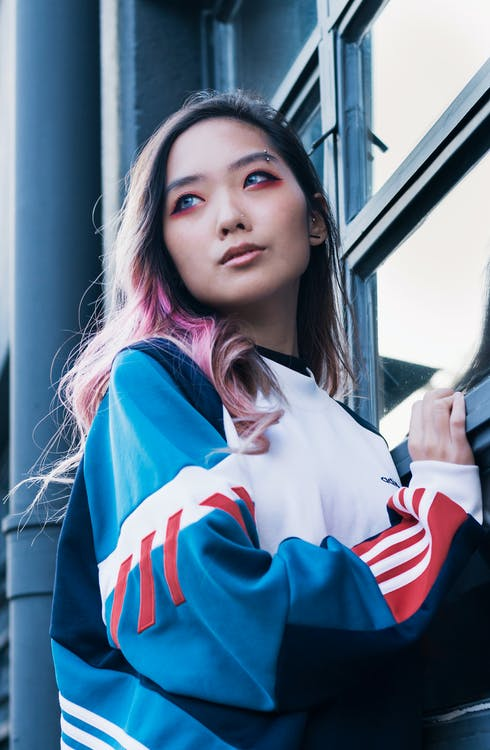Asian, pink hair