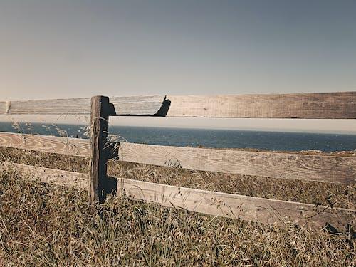 Foto profissional grátis de borda, cerca, de madeira, mar