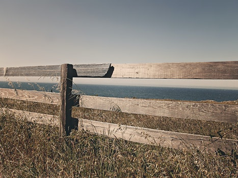 Free stock photo of sea, ocean, meadow, fence