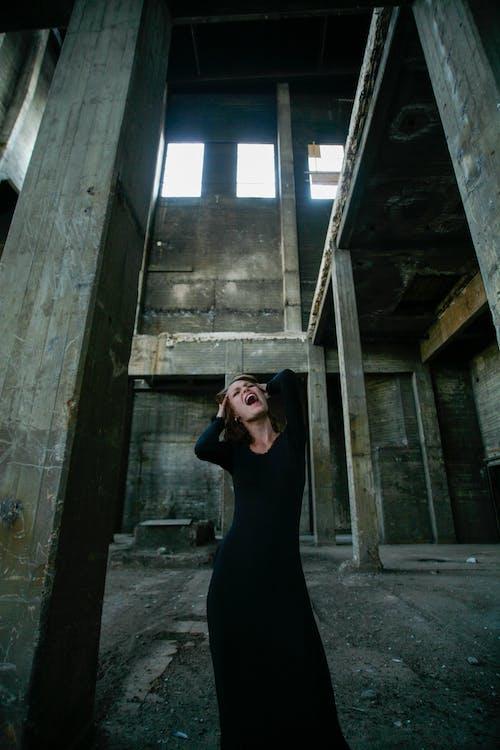 Woman In Black Long Sleeve Dress Screaming