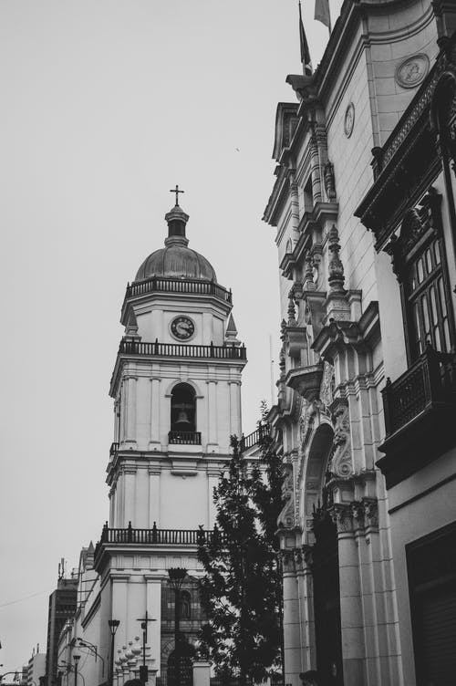 Grayscale Photo of a Church