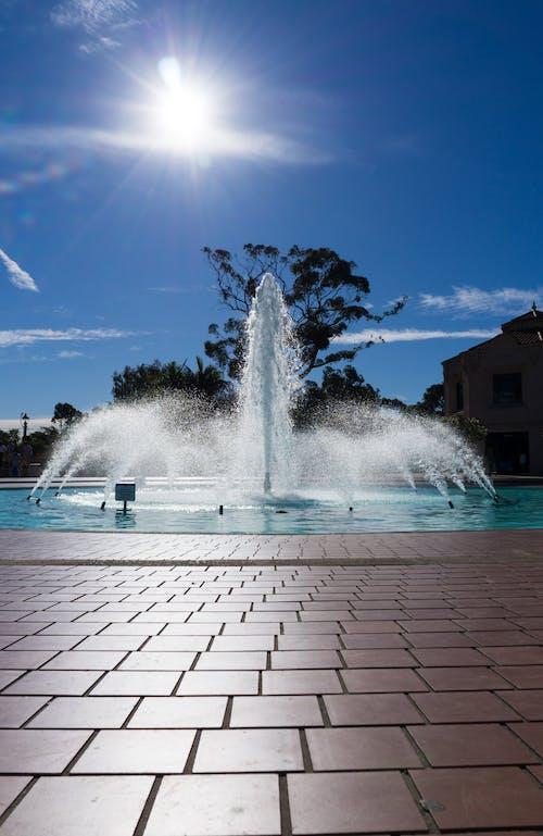 Free stock photo of blue, brick, bright, fountain