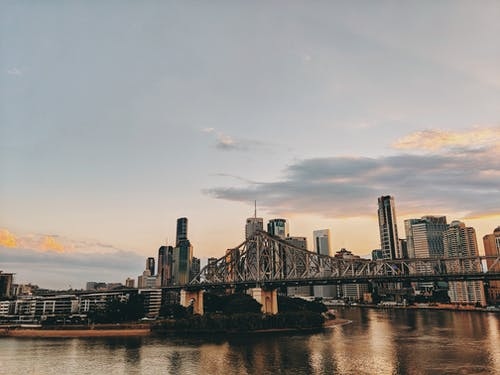 Photo of Bridge and Buildings During Golden Hour