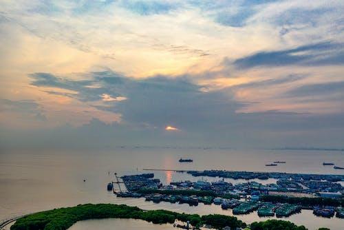 공중 촬영, 교통체계, 구름, 물의 무료 스톡 사진