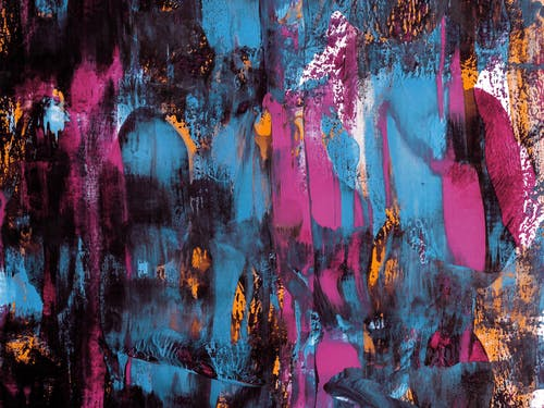 Blue, Purple, And Black Abstract Painting