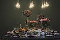 food, lights, flowers