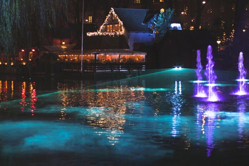 Reflection of Illuminated Lights in Water at Night