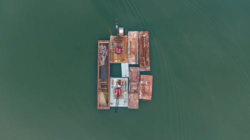 aerial view of a barge on water
