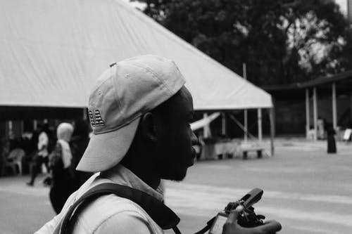 Free stock photo of african, african people, baseball cap, black and white