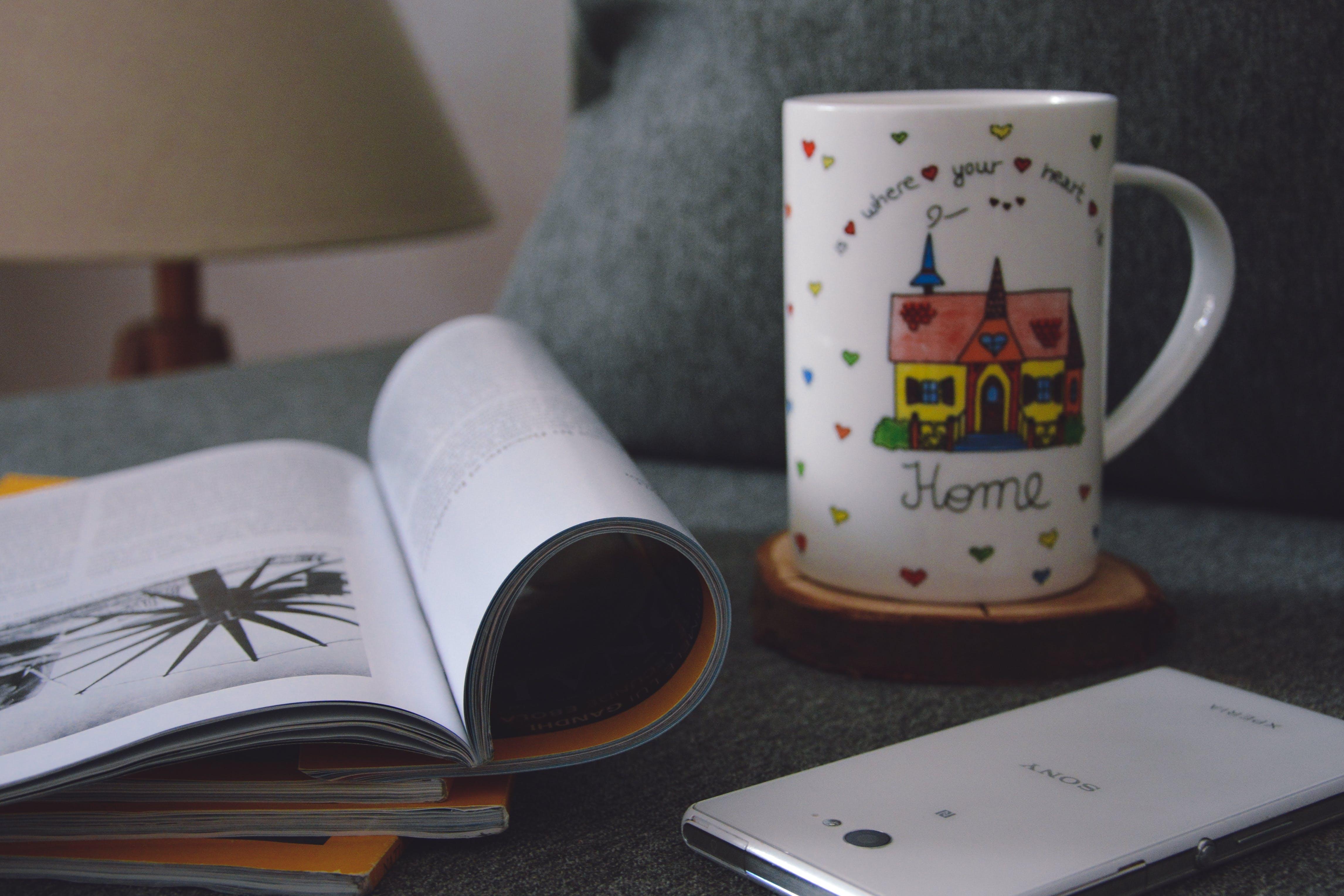 Free stock photo of caffee, home, magazine, mug