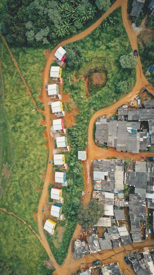 Imagine de stoc gratuită din case, drum de pământ, fotografie din aer, la țară