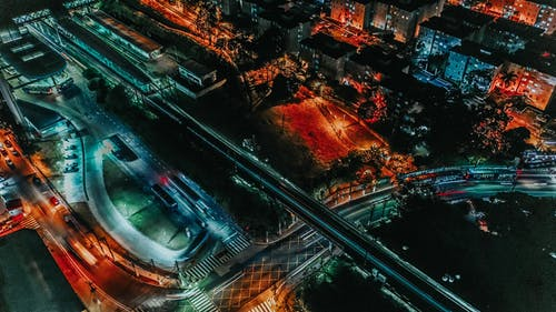 Aerial Photo of Lighted Streets