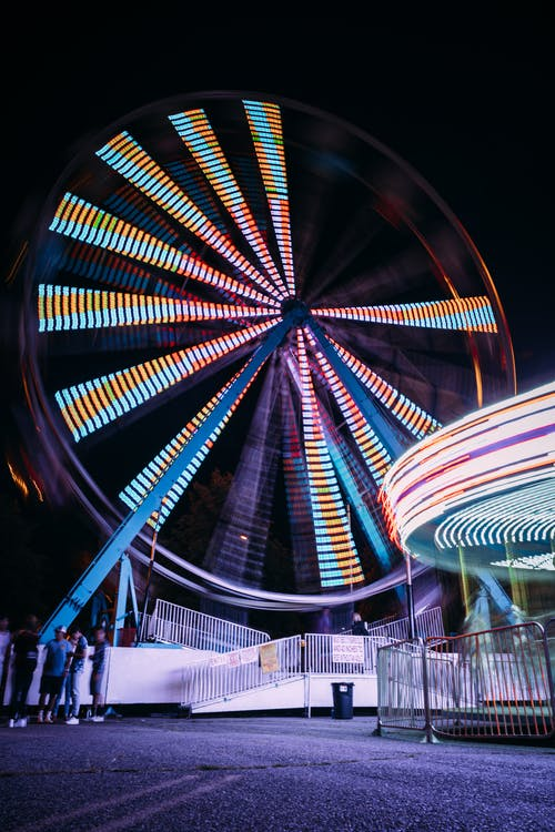 Lit Ferris Wheel at Night