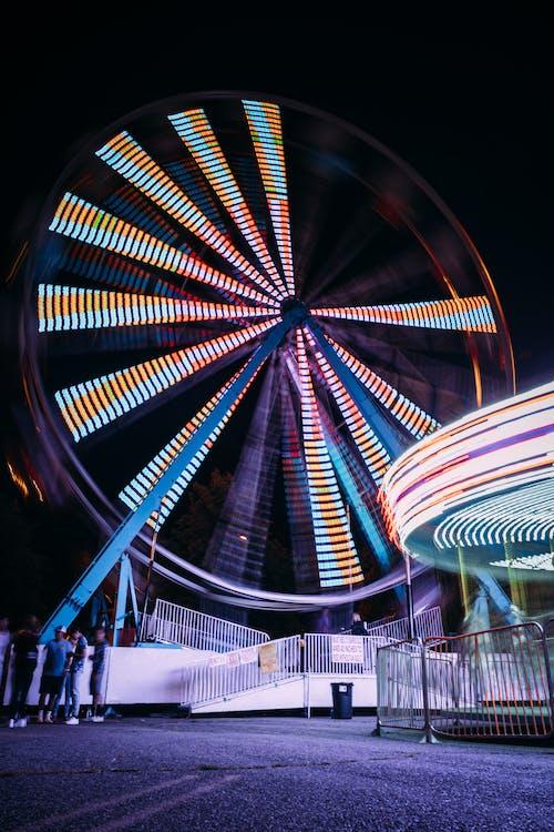 Lit Ferris Wheel at Night