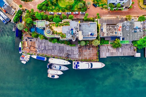 Bird's-eye View of Yachts and Boats