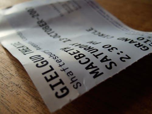 特寫, 票, 莎士比亚, 麦克白 的 免费素材照片