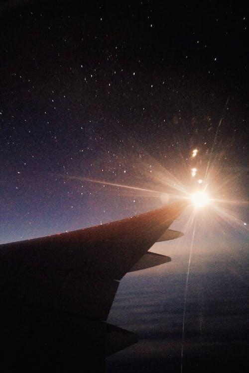 Free stock photo of airplane window, night, stars