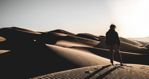 Back view photo of a person standing on desert
