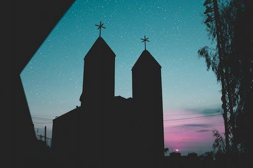 Foto profissional grátis de admiração, alvorecer, cair da noite, capela