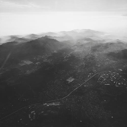 Foto stok gratis Cina, gunung, hitam dan putih