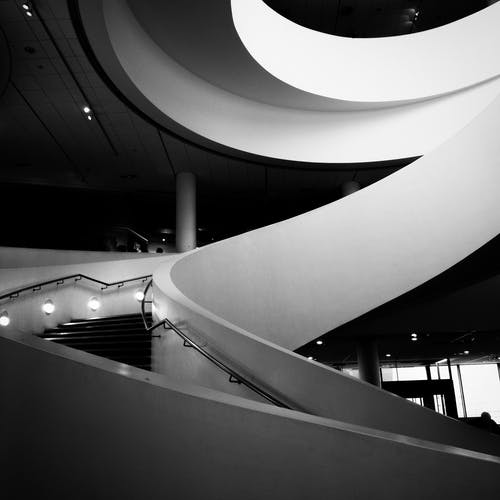 Monochrome Photo of Stairs