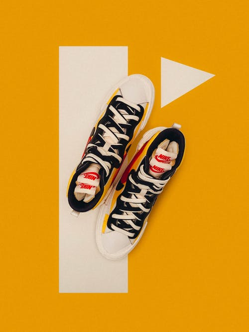 Top View Photo of Sneakers