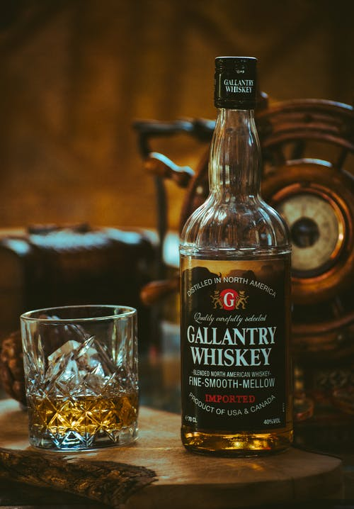 Gallantry Whiskey Bottle Beside Glass