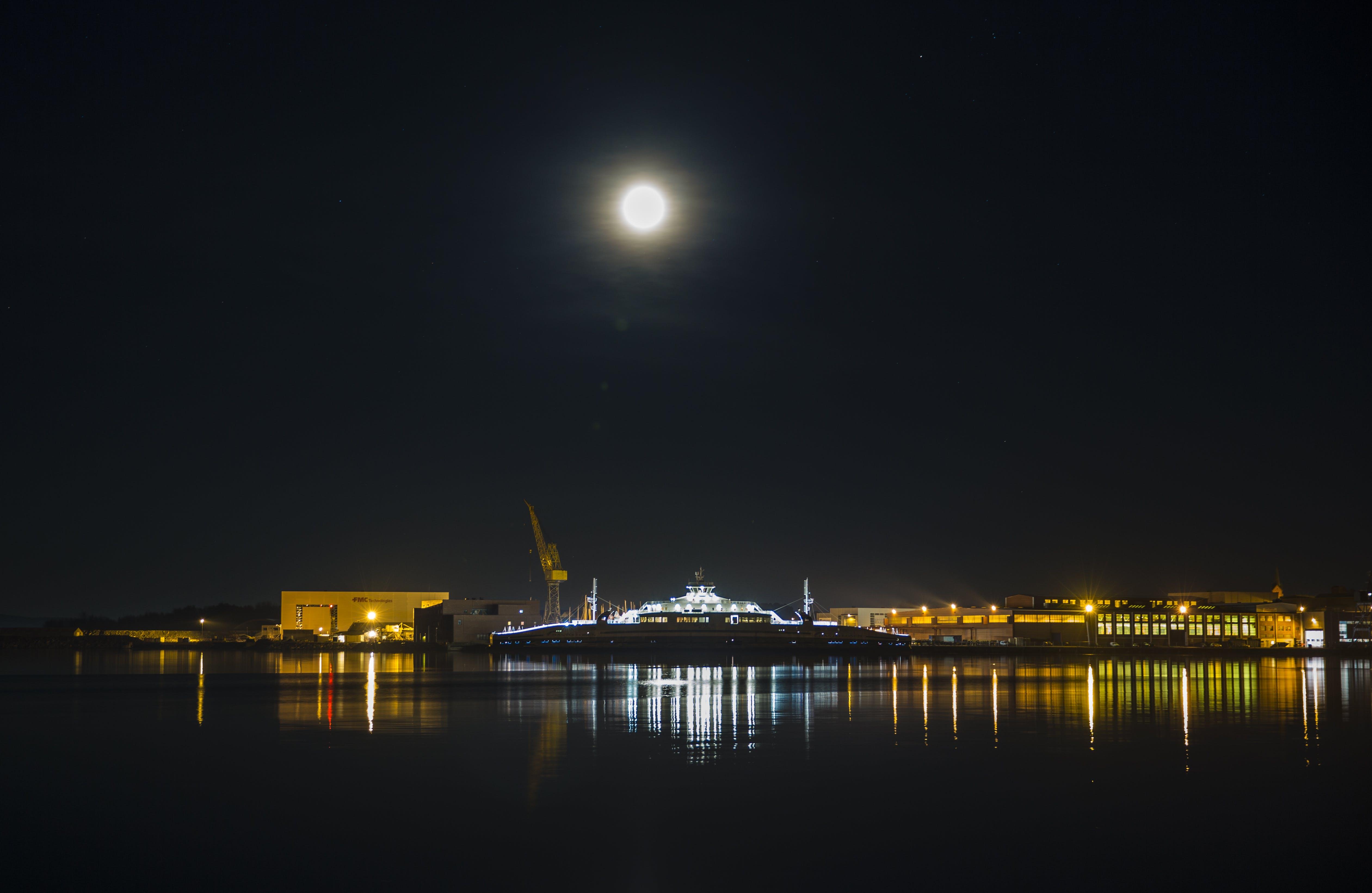Gratis lagerfoto af færge, natlys, skib