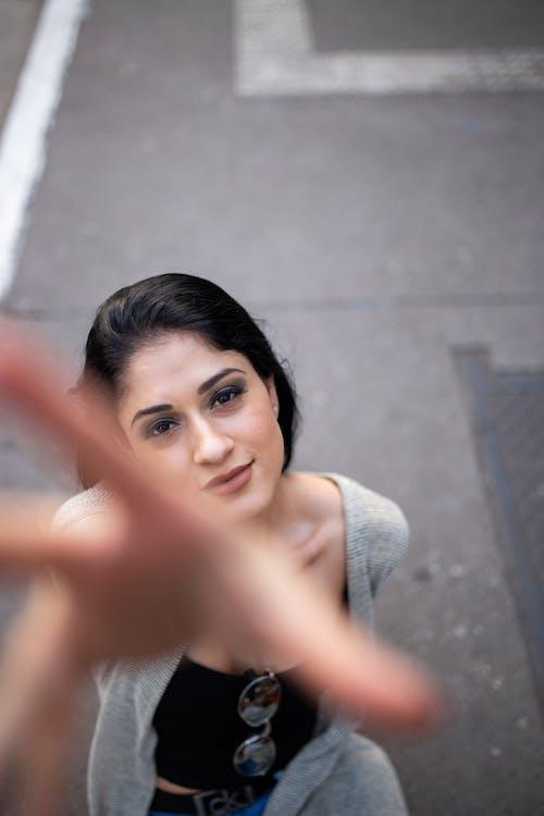 High Angle Photography of Woman Wearing Cardigan