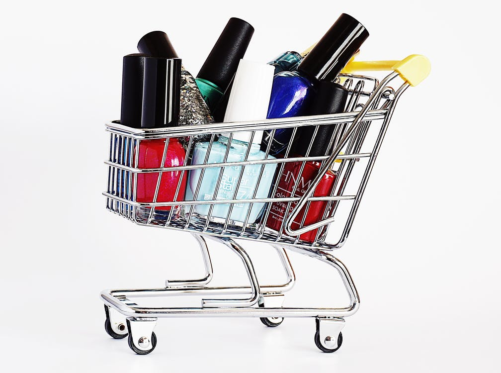 Stainless Steel Mini Shopping Cart With Nail Polish Bottles