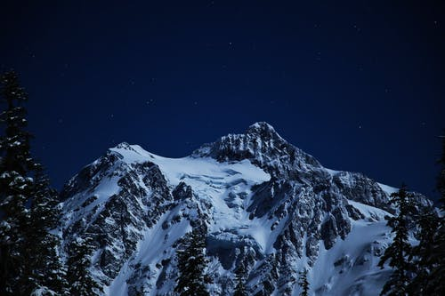 Photo of Snow Capped Mountain During Nighttime