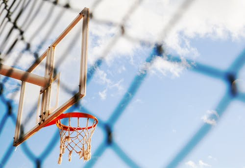Low-Angle Photo of Basketball Hoop Under Blue Sky