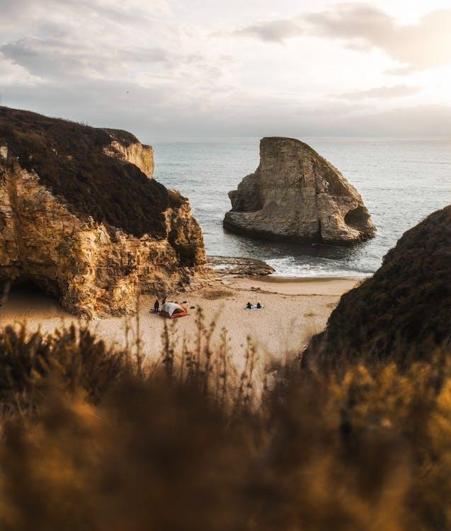 biển, bờ biển, cắm trại