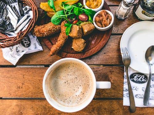 คลังภาพถ่ายฟรี ของ กาแฟ, กิน, ของบนโต๊ะอาหาร, คาปูชิโน่