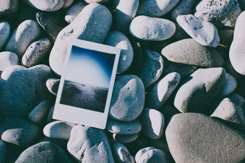 Instant Photo on Rocks
