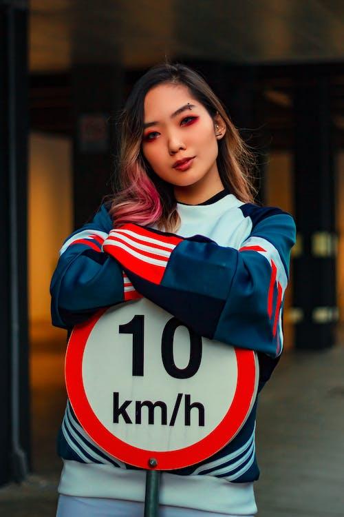 ansikt, antrekk, asiatisk kvinne
