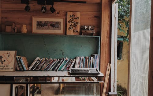 Books in Teal Wooden Rack on Wall