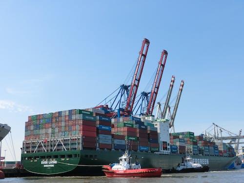 Free stock photo of container ship, cranes, hamburg, harbor