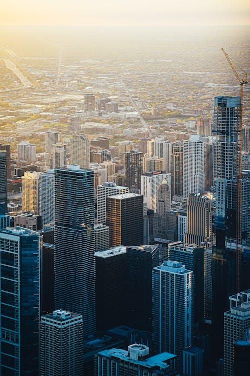 architectuur, bedrijf, bird's eye view