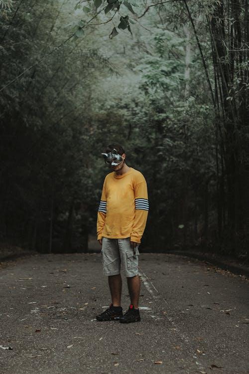 Δωρεάν στοκ φωτογραφιών με άδειο δρόμο, άνδρας, δάσος, δέντρα