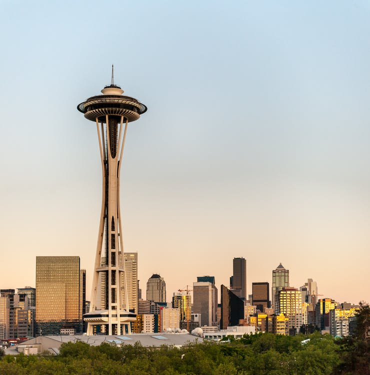 Cityscape Photo of The Space Needle Observation Tower in Seattle, Washington