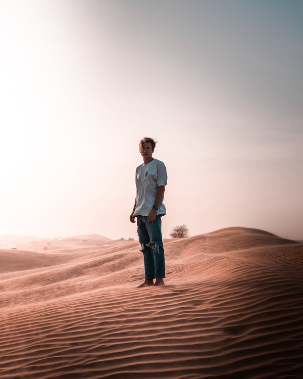 Man Standing On Sand