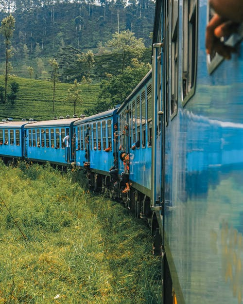 Blue Train Running Beside Green Field