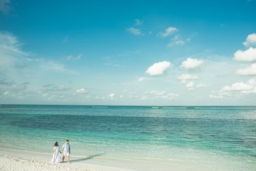 Bride and Groom Standing on Beach Line