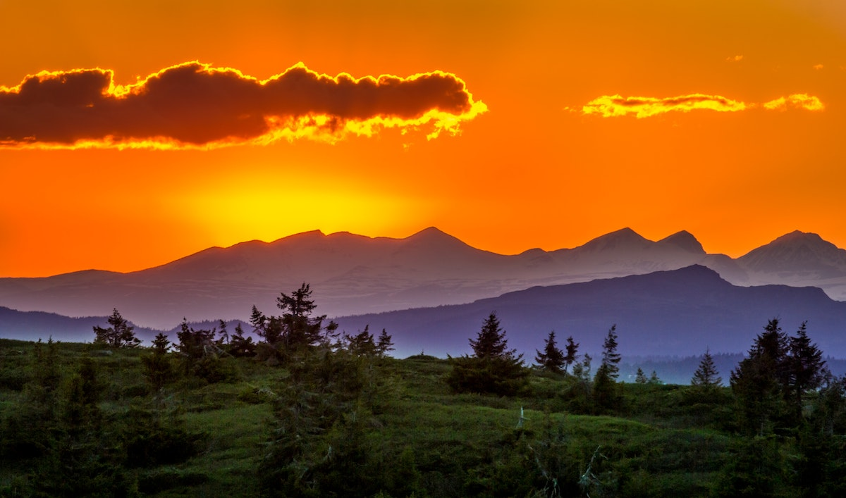 Scenic View of Mountains Against Sky at Sunset · Free ...