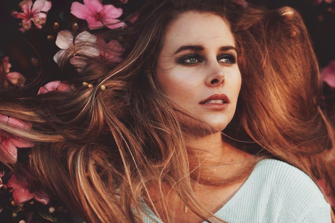 beauty, face, flowers
