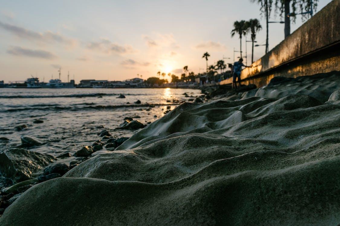 ακτή, άμμος, Ανατολή ηλίου