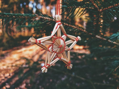 Brown and Red Wooden Star Decor