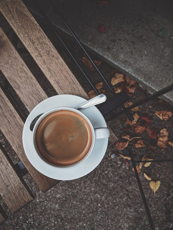 bovenaanzicht, cafeïne, cappuccino